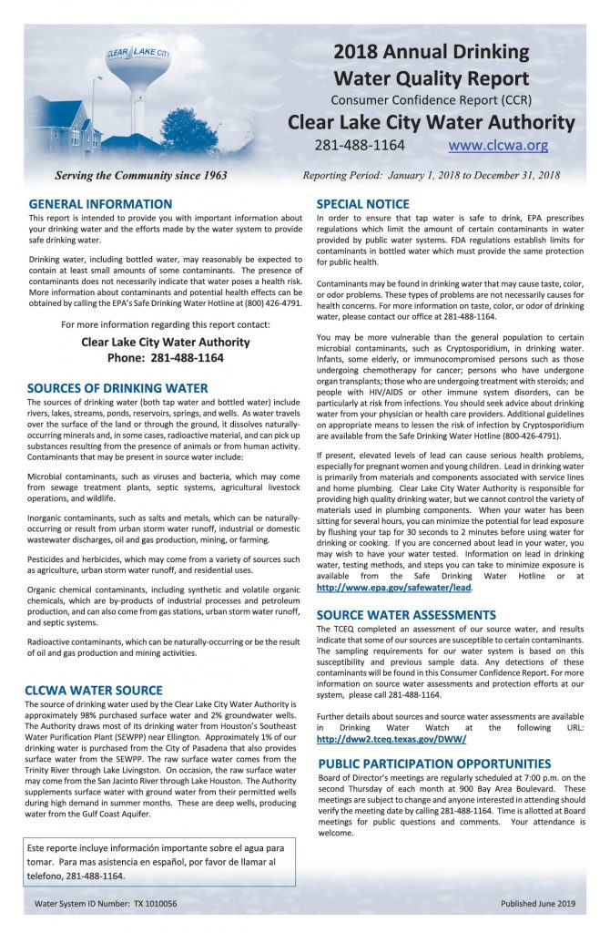 Annual Consumer Confidence Report - Page 1