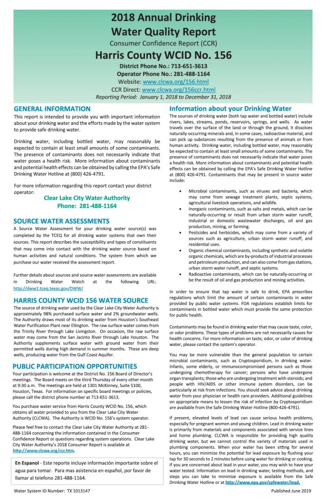 WCID #156 Annual Consumer Confidence Report - Page 1